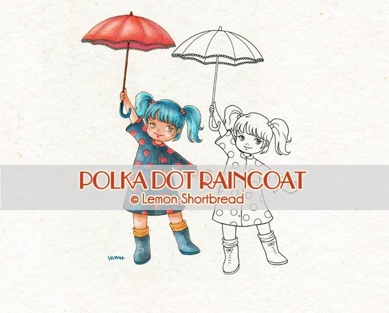 Digital Stamp Polka Dot Raincoat Rain Rainy Girl Umbrella image 0