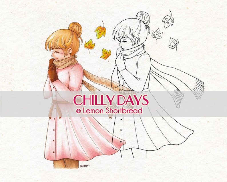 Digital Stamp Chilly Days Girl Digi Download Autumn Fall image 0