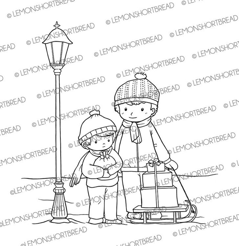 Digital Stamp Winter Boys Christmas Scene Digi Stamps image 0