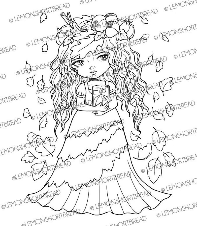 Digital Stamp Autumn Spice Digi Stamps Fairy Girl Pumpkin image 0