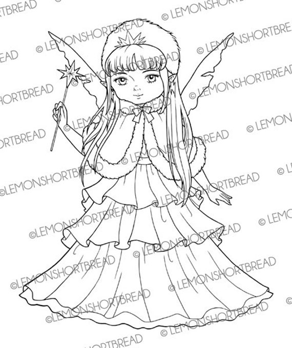 Coloring pages Snow Queen Set of 3 Digital Stamps Winter Elf Fantasy Winter stamps The Winter Collection Snow fairy