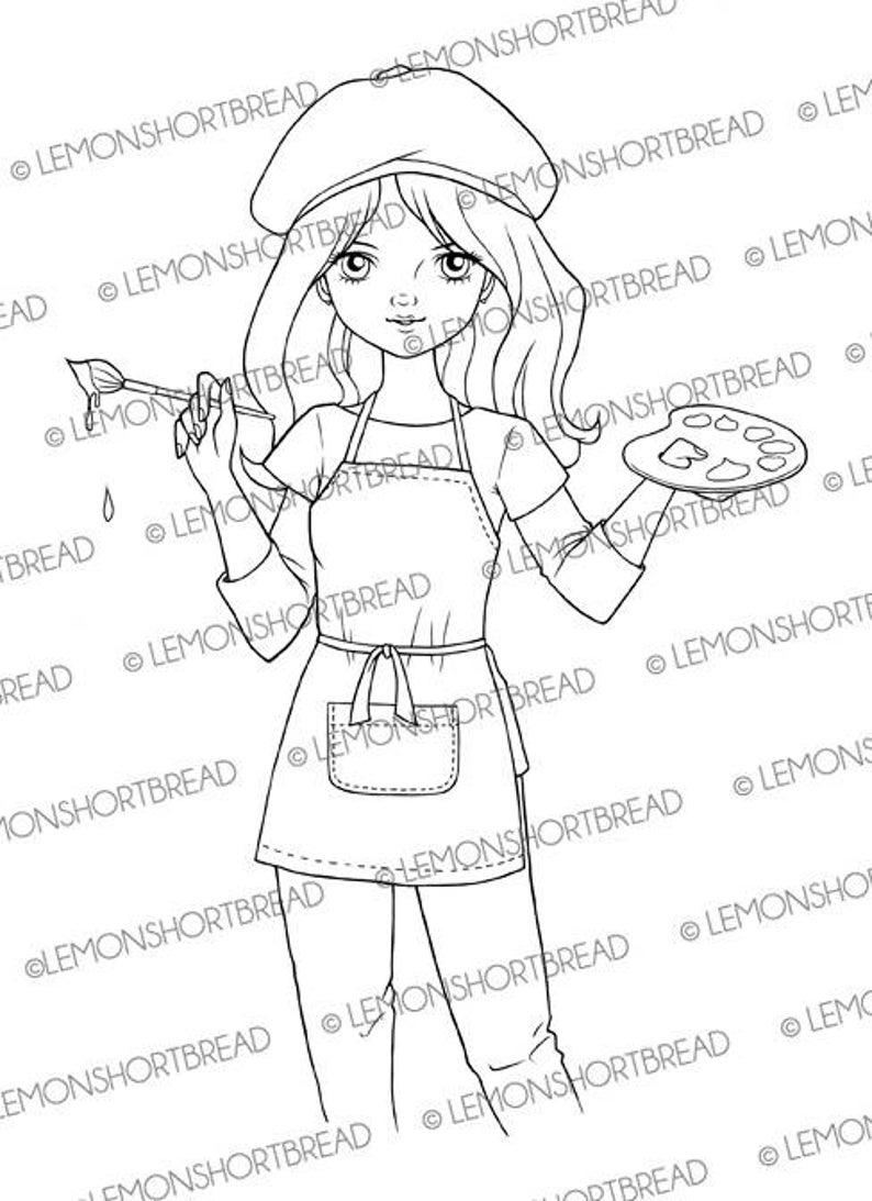 Digital Stamp Painter Girl Artist Palette Digi Download For image 0