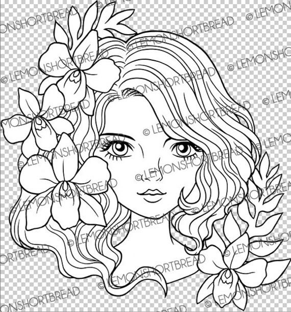 Digitalen Stempel Orchidee Dame Gesicht Digi Download Etsy