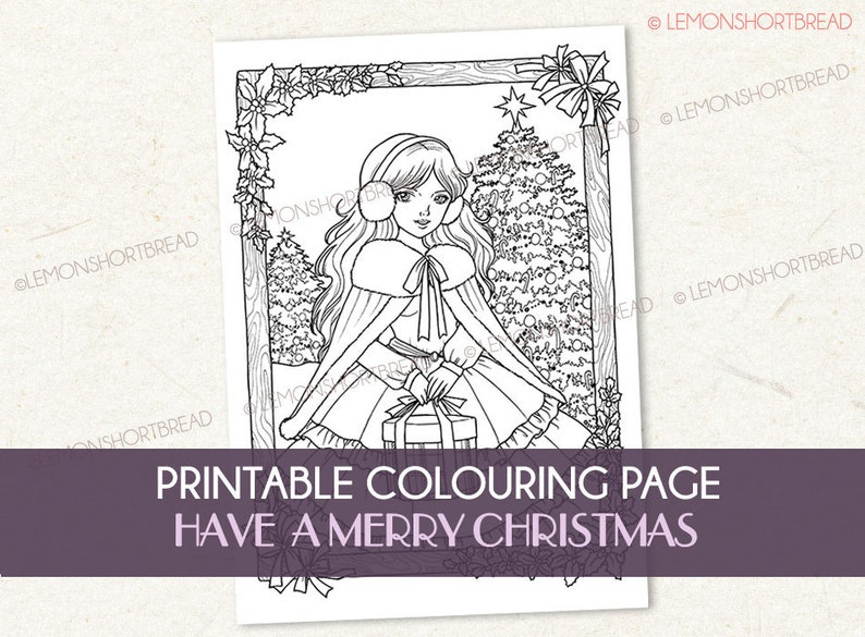 Printable Digital Colouring Page Merry Christmas Adult image 0