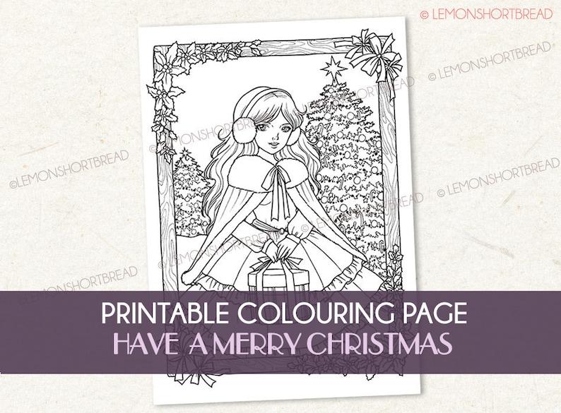 Printable Digital Colouring Page Merry Christmas Adult image 0