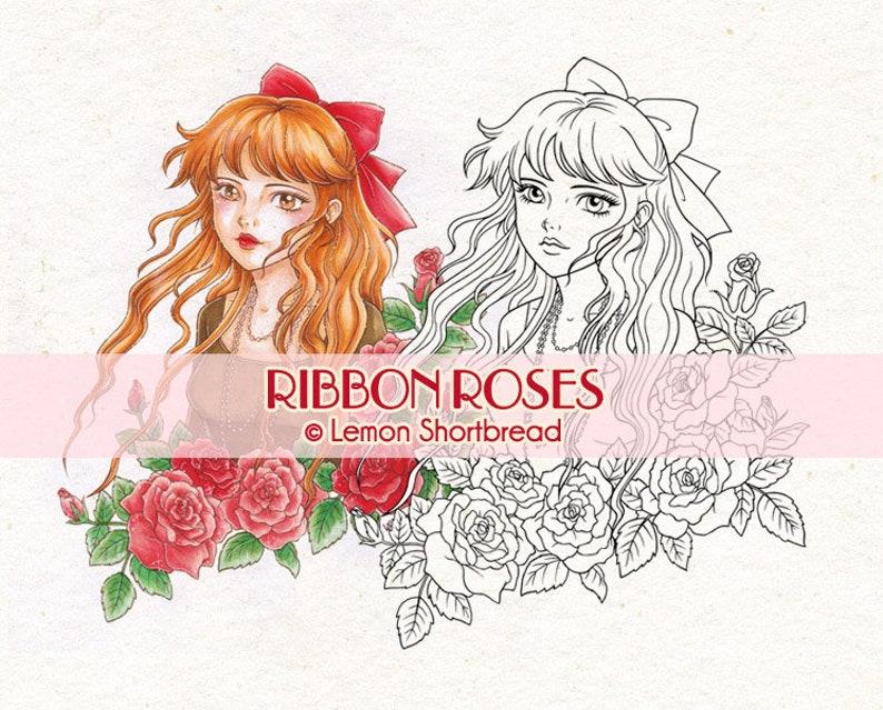 Digital Stamp Ribbon Roses Girl Digi Printable Coloring Page image 0