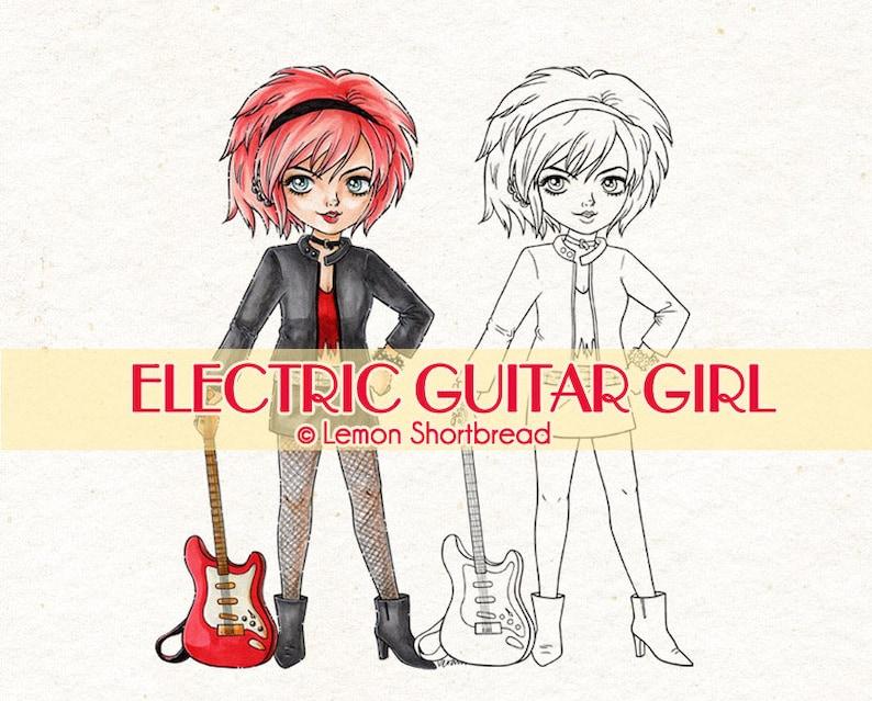 Digital Stamp Electric Guitar Girl Digi Printable Coloring image 0