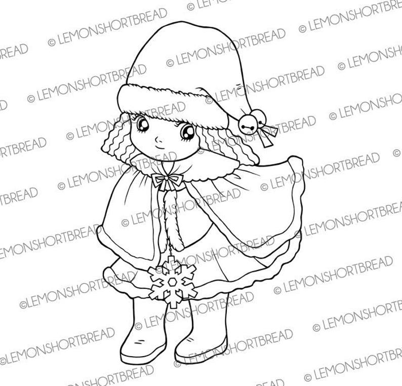 Digital Stamp Winter Wonderland Girl Digi Download image 0