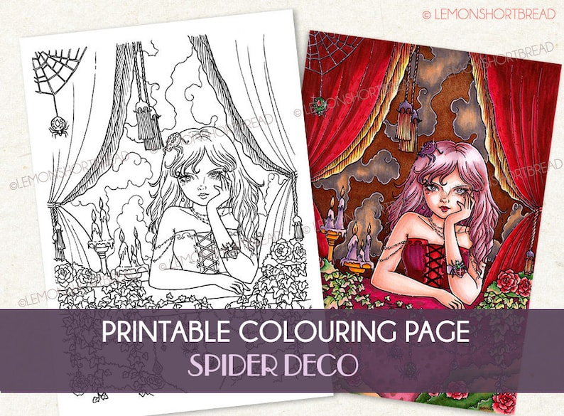 Printable Digital Colouring Page Spider Deco Girl Instant image 0