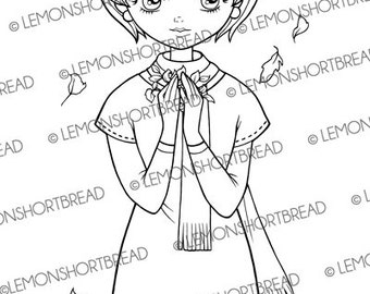 Digital Stamp Autumn Leaves in Hand Girl, Digi Download Fall, Mod Retro Style, Fashion Coloring Page, Scrapbooking Supplies, Clip Art