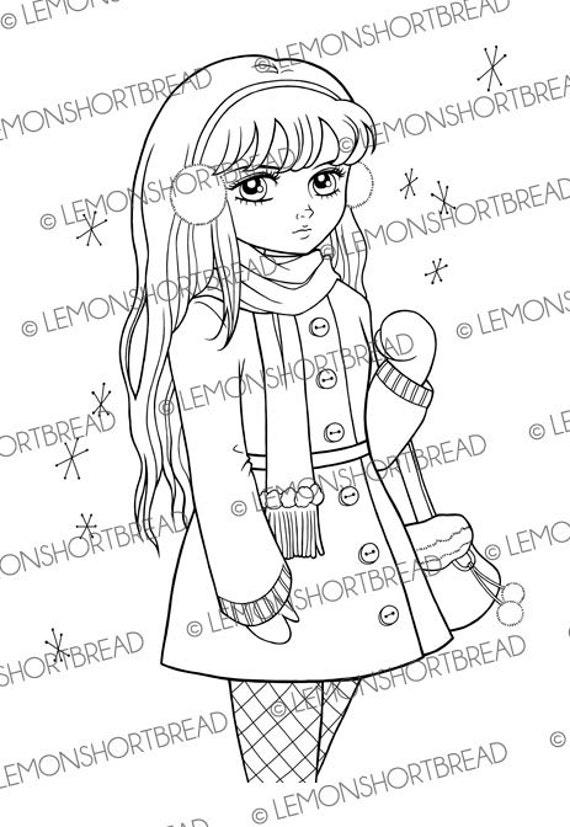 Digital Stamp Winter Girl Shopping Digi Download Ear Muff