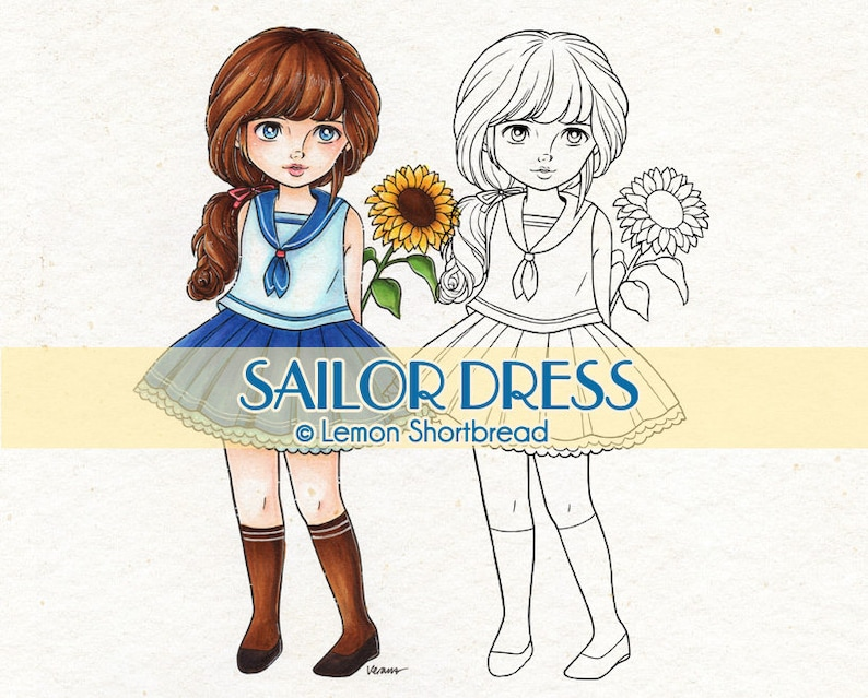 Digital Stamp Sailor Dress Sunflower Girl Digi Flower Floral image 0