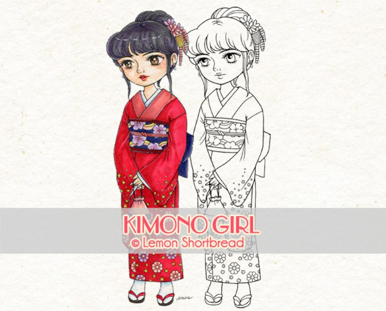 Digital Stamp Kimono Girl Digi Japanese Cherry Blossom image 0