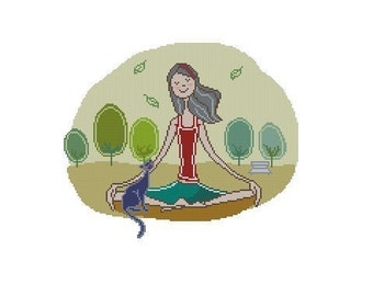 Yoga Girl Counted Cross Stitch Chart Pattern PDF