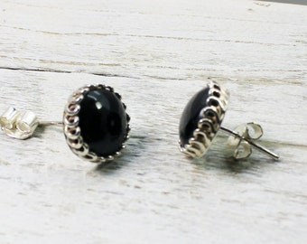 e02d32f7b Black Obsidian stone round ornated stud earrings sterling silver 925e great  quality natural black obsidian stone stud earrings