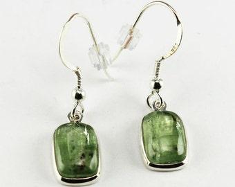 "Natural Green Cyanite ""Kyanite"" stone earrings with 925 silver ""hypoallergenics silver hooks"