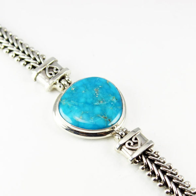Stunning Blue American Turquoise bracelet handmade with a natural Turquoise stone and 925 sterling silver vintage bali wrist bracelet