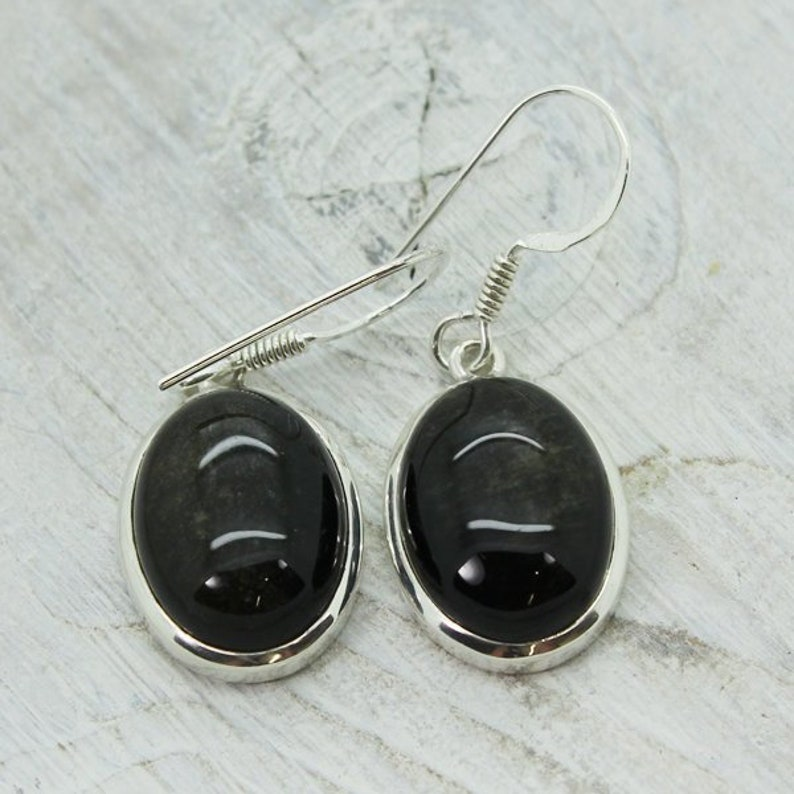 2bab209d2 Oval Black Obsidian stone with some golden sheen earrings | Etsy
