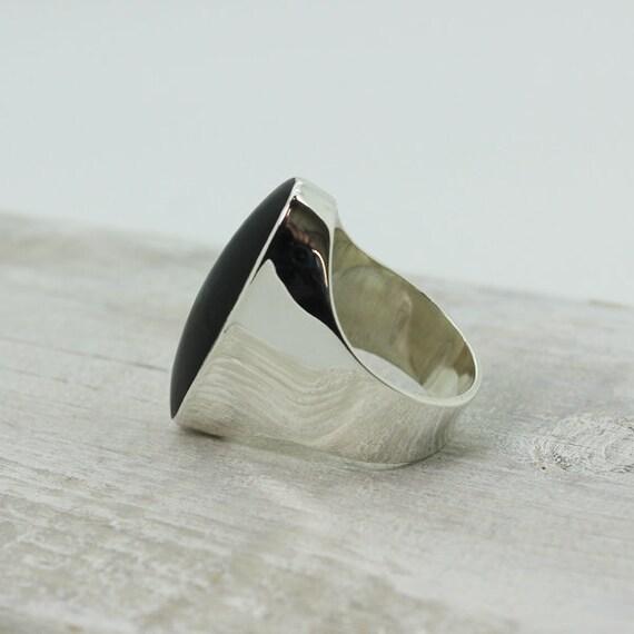 buona reputazione qualità superiore taglia 7 Anello di ossidiana nera lunga sottile impostato su argento 925 anello di  ossidiana nera naturale di pietra di ossidiana nera pietra gioielli di alta  ...