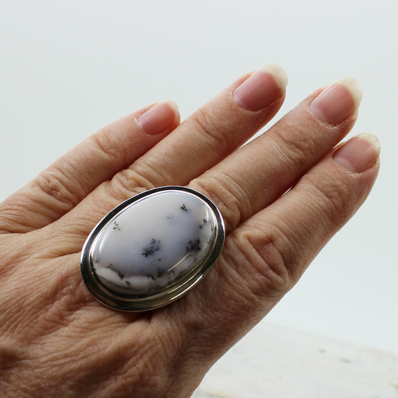 Dentritic opal or agate stone ring oval shape top quality bezel sterling silver 925 natural stone jewelry best quality rings solid silver