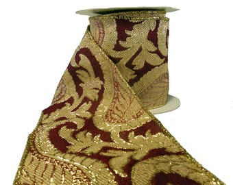 "3 Rolls Of Burgundy Gold & Beige Paisley Tapestry Wired Ribbon  4"" Wide"