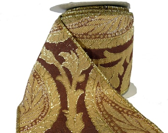 "Rust Gold & Beige Paisley Tapestry Wired Ribbon  4"" Wide"