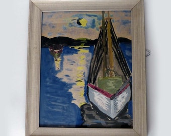 Very Nice Professionally Framed Vintage Watercolor Painting Sailboat & Moonlight