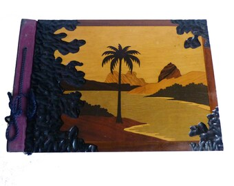 Carved And Inlaid Wood Palm Tree Island Souvenir Scrapbook 1950's