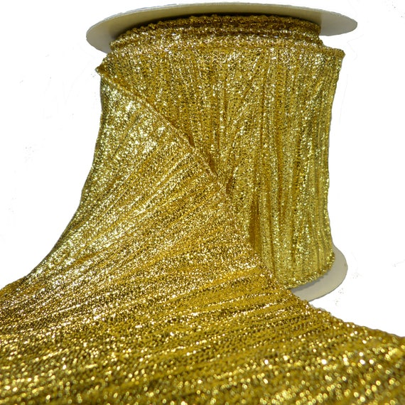 Sparkly Pleated Plissé Gold Lamé Wired Ribbon 10 Yards Etsy