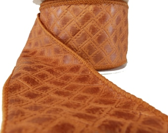 """Copper Orange Braided Faux Leather Wired Ribbon  2.5"""" Wide"""