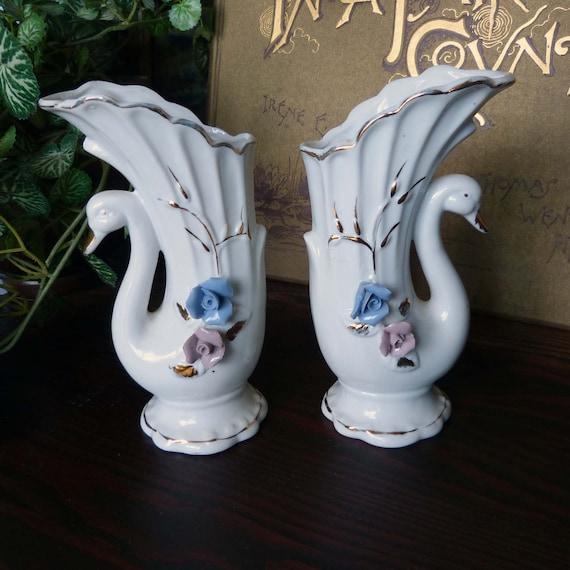 Pair Of Vintage Porcelain Swan Vases With Roses Etsy