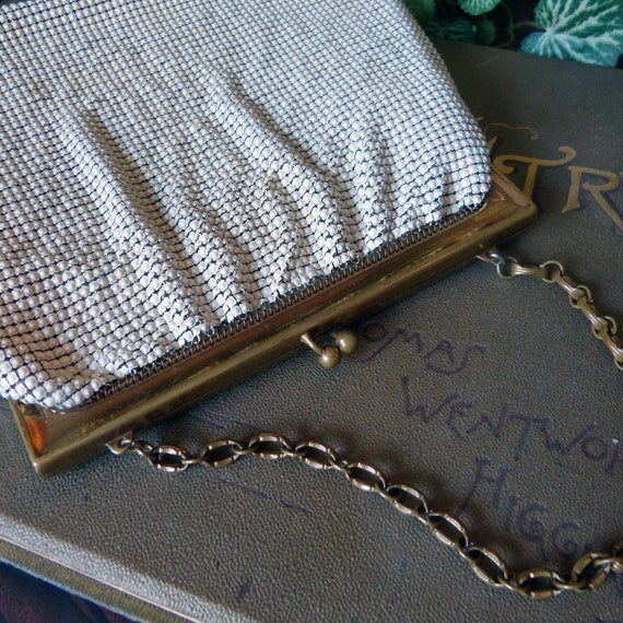 Whiting & Davis White Metal Mesh Purse Handbag