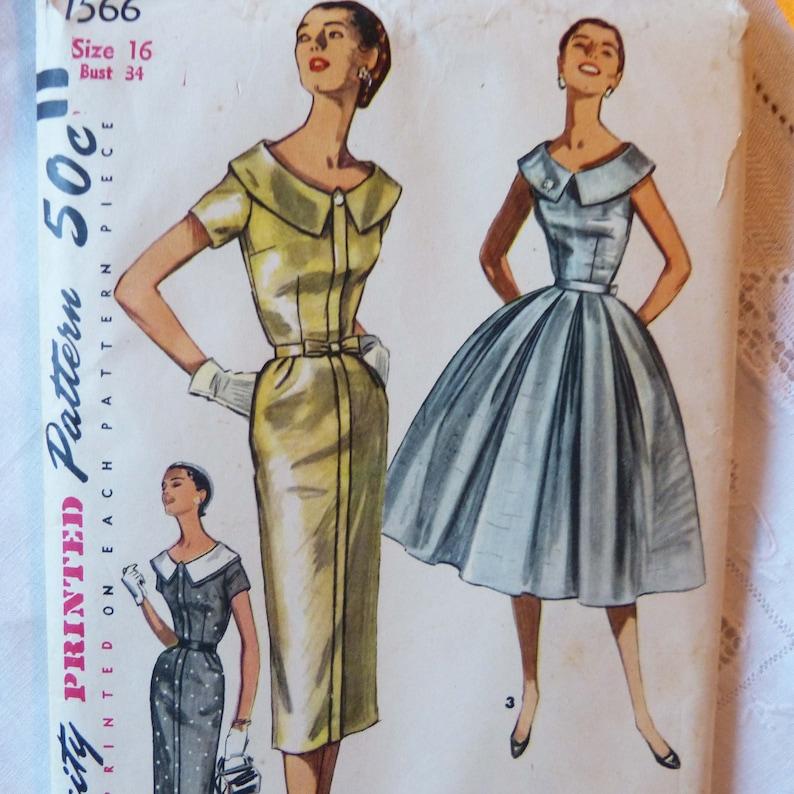 Simplicity 1566 Vintage Sewing Pattern Misses/' Dress 3 Versions 1956 UNCUT