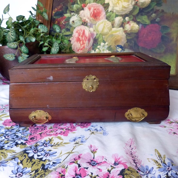 Asian Wooden Jewelry Box Chest With Painted Carved Figures On Top Made In Japan