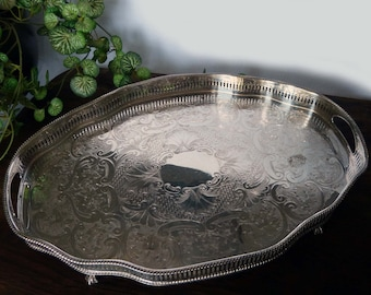Large Silver Plated Shapely Clawfoot Tray with Reticulated Galleried Edge & Elaborate Chasing