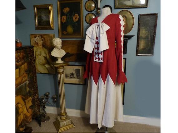 Red & White Costume Dress Harlequin Clown Circus W