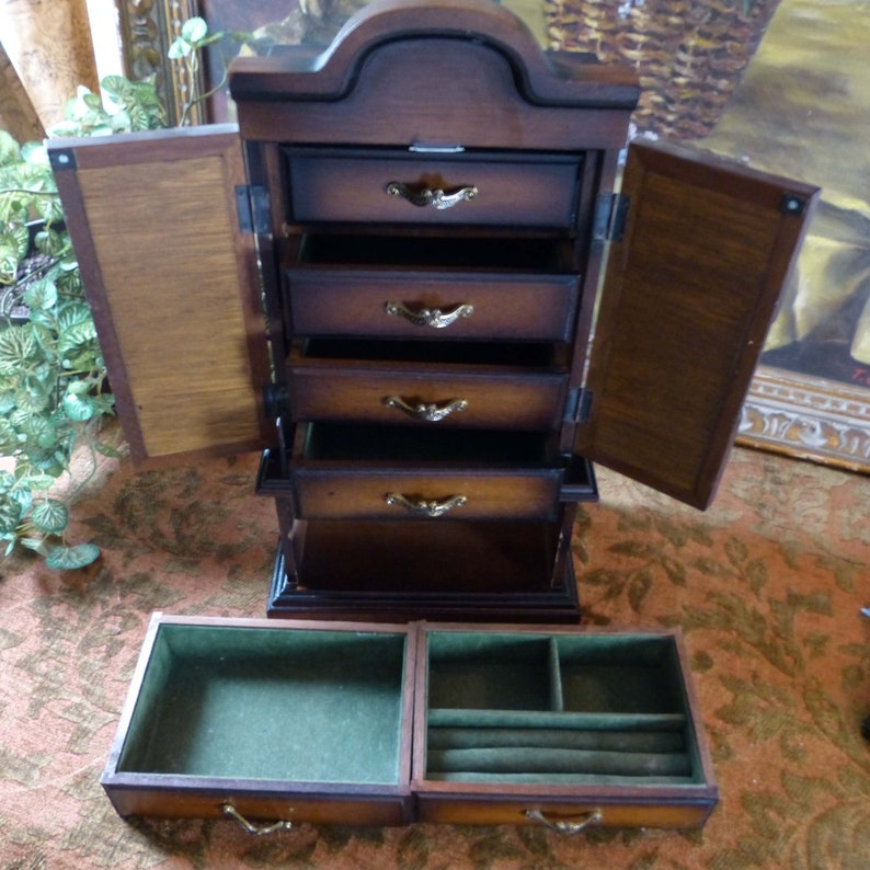 Jewelry Box Armoire Solid Wood Brass Hardware Made In Japan 1960s-70s