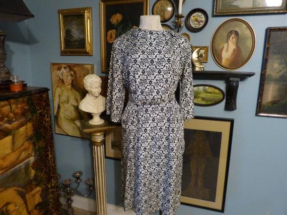 Mode O Day 1950s Vintage Belted Dress Black & Ivor