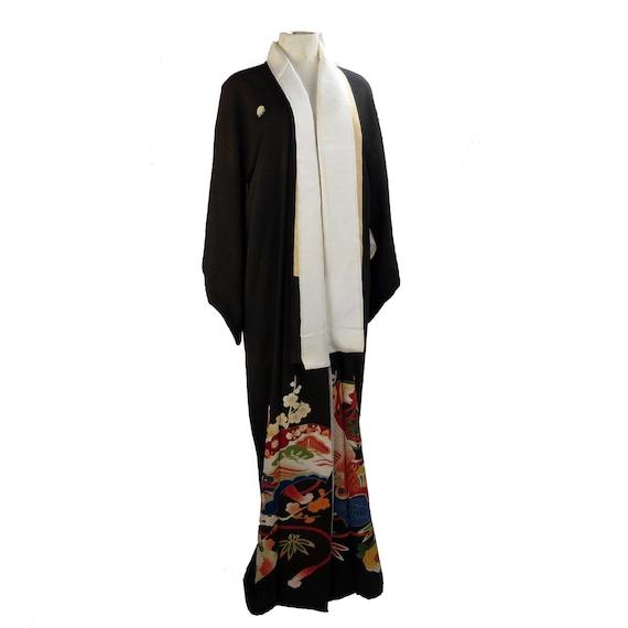 Vintage Japanese Silk Crepe Kimono Black With Flor