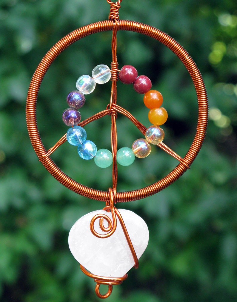 Peace & Love Suncatcher Copper with Rainbow Beads and Rose image 0