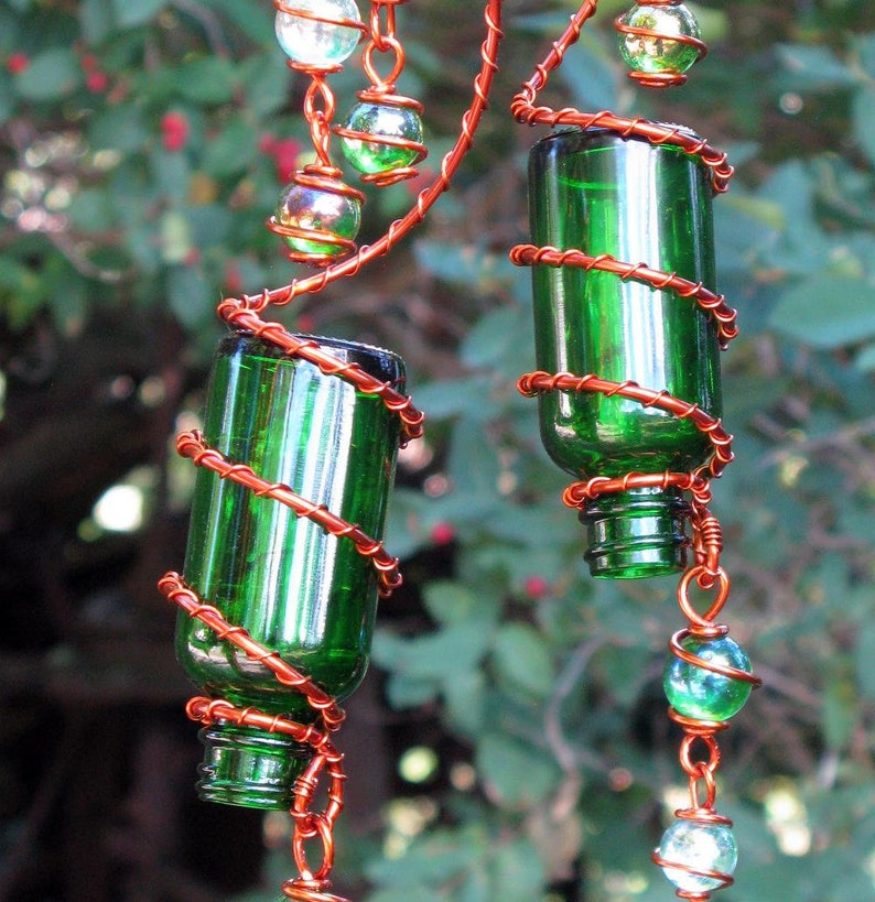 Set of 2 Little Emerald Green Spirit Bottles With Copper Wire image 0