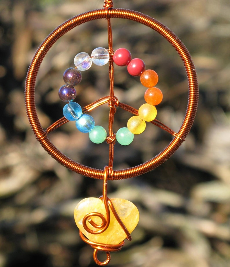 Peace & Love Suncatcher Copper with Rainbow Beads and Citrine image 0