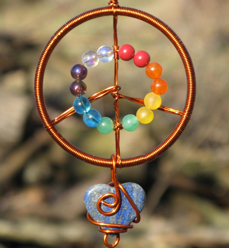Peace & Love Suncatcher Copper with Rainbow Beads and Lapis image 0