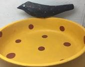 Primitive Halloween Carved Crow Bowl Carved Driftwood Crow On Bowl, Folk Art Halloween