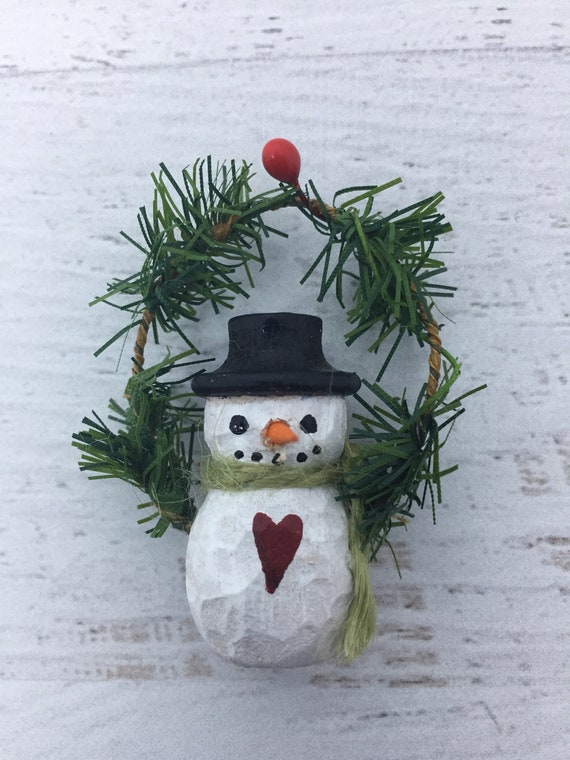 Carved Miniature Snowman Wood Turning Christmas Ornament Winter Solstice Decoration Wood Turned Snowman