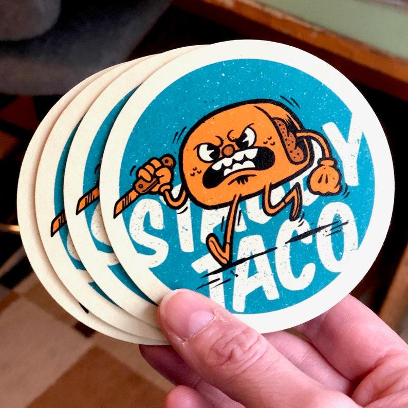 Stabby Taco  Set of 4 Coasters image 0