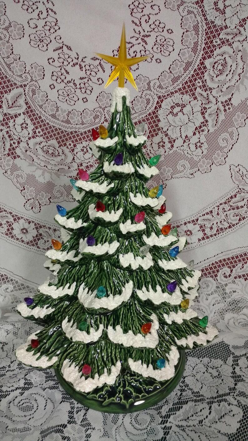Ceramic Christmas Tree Lighted 14 Nowell Vintage Mold Green Flocked Star