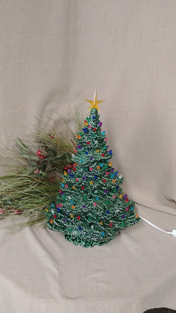 image 0 - 18 Tampa Bay Lighted Ceramic Christmas Tree Green Etsy