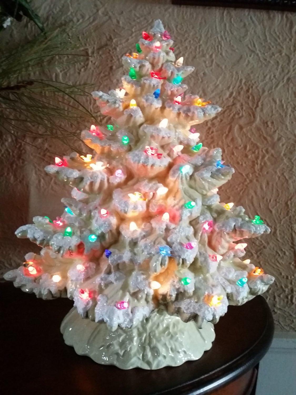 17 Frazier Fir Lighted Ceramic Christmas Tree Flocked
