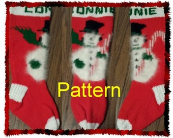 Snowman & Candy Cane Knit Christmas Stocking Pattern *NEW FOR 2015*